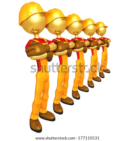 Gold Guy Construction Workers - stock photo
