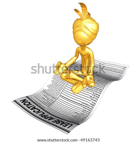 Gold Guy Djinn On Lease Application - stock photo