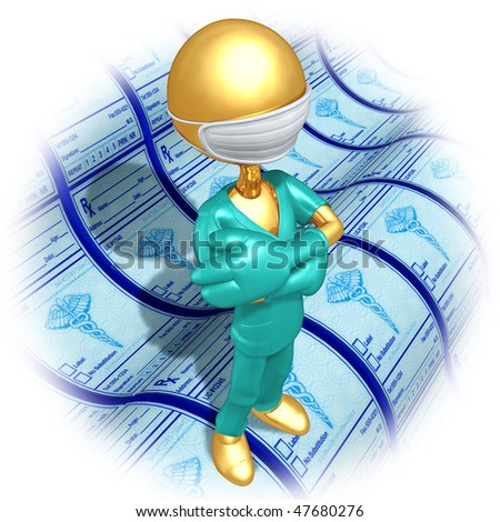 Gold Guy Doctor With Medical Prescriptions - stock photo