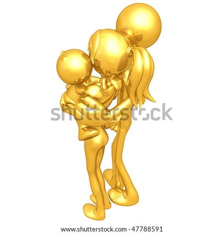 Gold Guy Family - stock photo