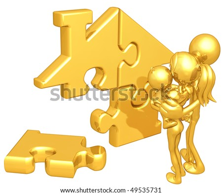 Gold Guy Family With Gold Home Puzzle - stock photo