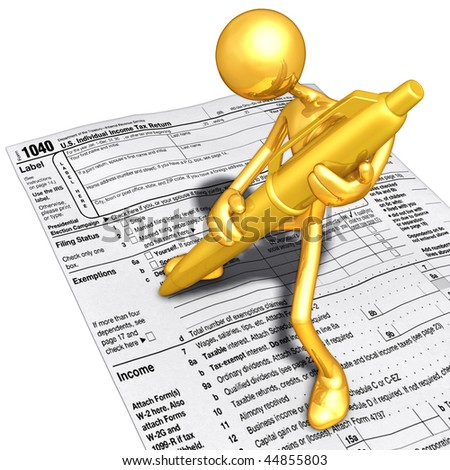 Gold Guy Filling Out Tax Form With Gold Pen - stock photo