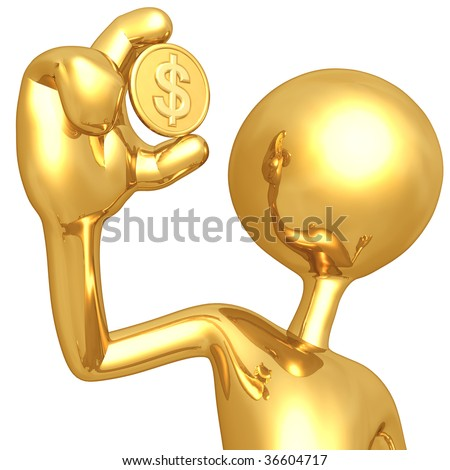 Gold Guy Holding Dollar Coin - stock photo