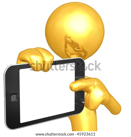 Gold Guy Holding Touch Screen Device - stock photo