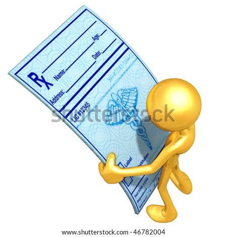 Gold Guy Looking At Medical Prescriptions - stock photo