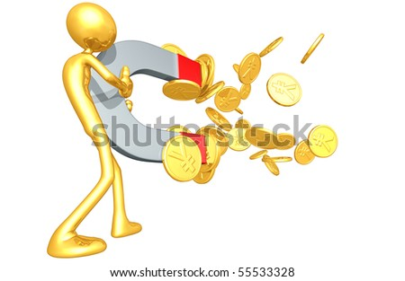 Gold Guy Money Magnet Concept - stock photo