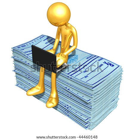 Gold Guy Online With Medical Prescriptions - stock photo