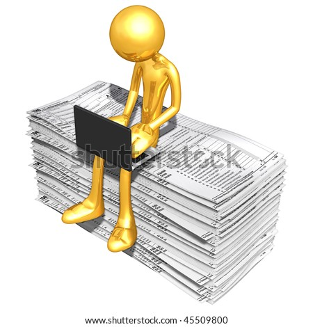Gold Guy Online With Tax Forms - stock photo