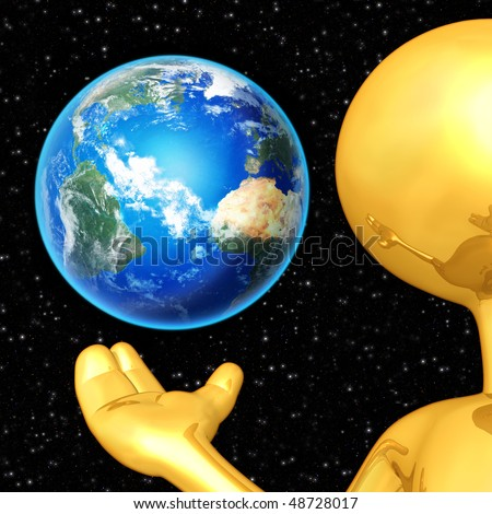 Gold Guy Presenting The Earth - stock photo