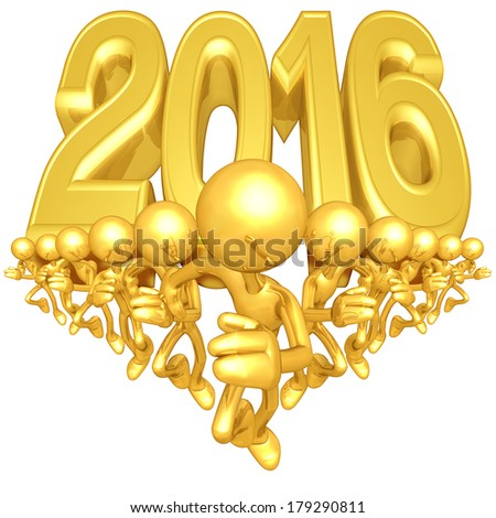 Gold Guy Runners With Year Behind Them - stock photo