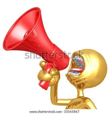 Gold Guy Screaming Into Megaphone - stock photo