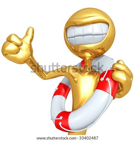 Gold Guy Smiling With Lifebuoy - stock photo