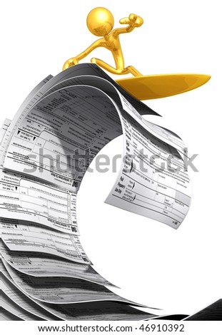 Gold Guy Surfing On Tax Forms - stock photo