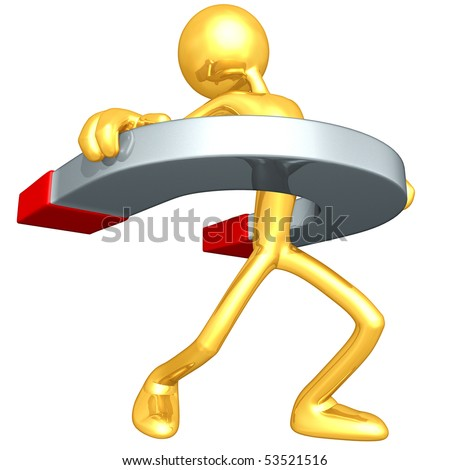 Gold Guy With A Giant Magnet - stock photo