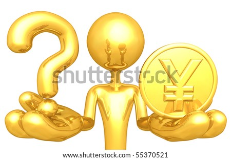 Gold Guy With A Question And Gold Coin - stock photo