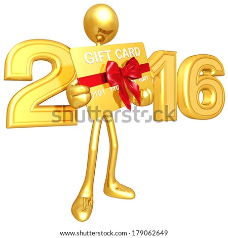 Gold Guy With Gift Card - stock photo