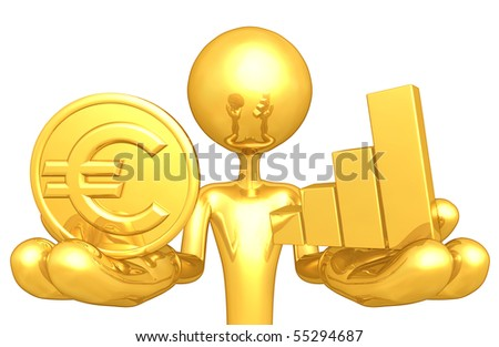 Gold Guy With Gold Coin and Bar Graph - stock photo