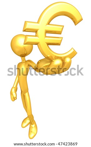 Gold Guy With Gold Currency - stock photo