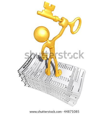 Gold Guy With 401K Forms And Gold Key - stock photo