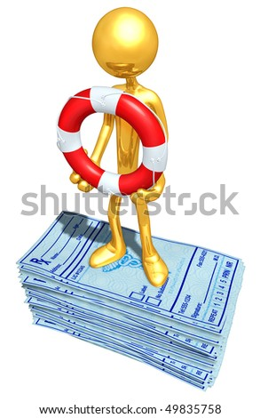 Gold Guy With Life Ring On Medical Prescriptions - stock photo