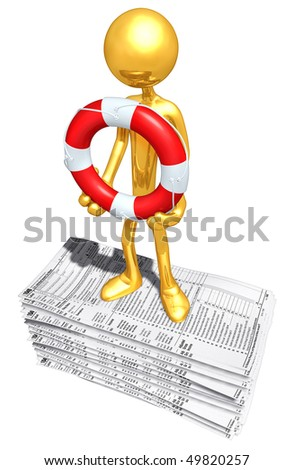 Gold Guy With Life ring On Tax Forms - stock photo