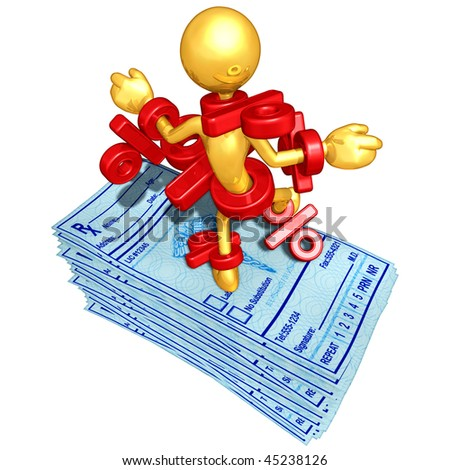 Gold Guy With Medical Prescriptions - stock photo