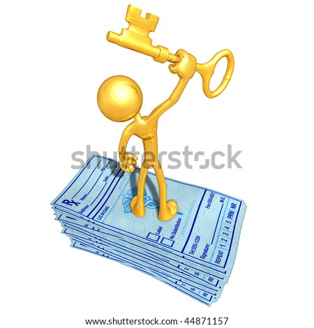 Gold Guy With Medical Prescriptions And Gold Key - stock photo