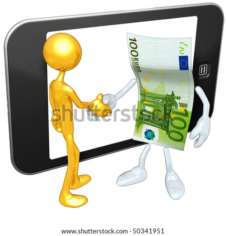 Gold Guy With Money And Touch Screen Mobile Device