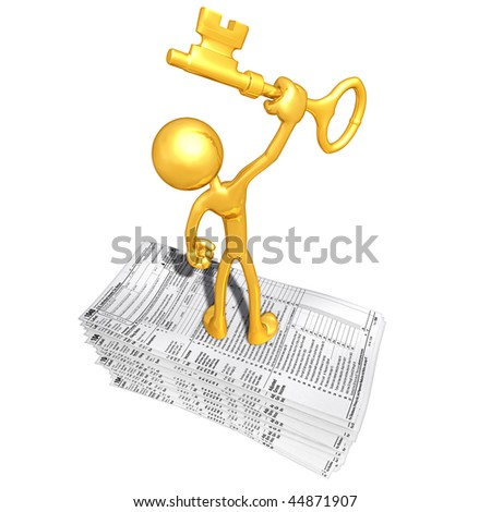 Gold Guy With Tax Forms And Gold Key - stock photo