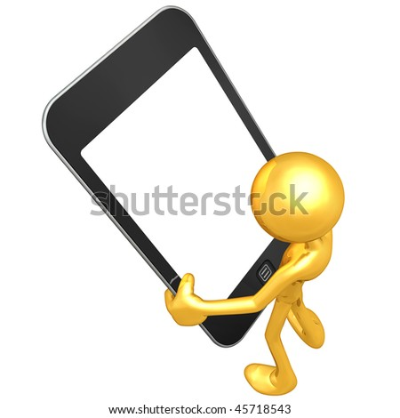 Gold Guy With Touch Screen Device - stock photo