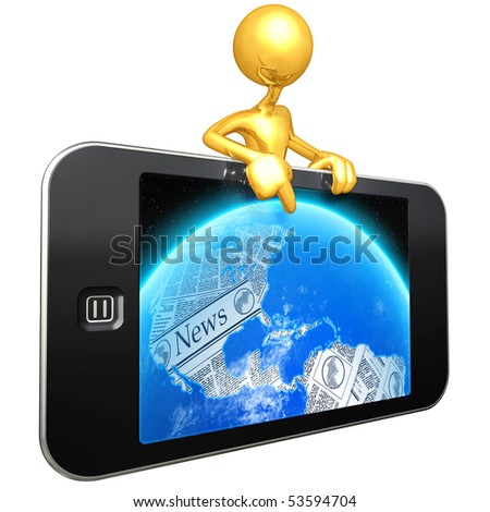 Gold Guy With Touch Screen Mobile Device World News - stock photo
