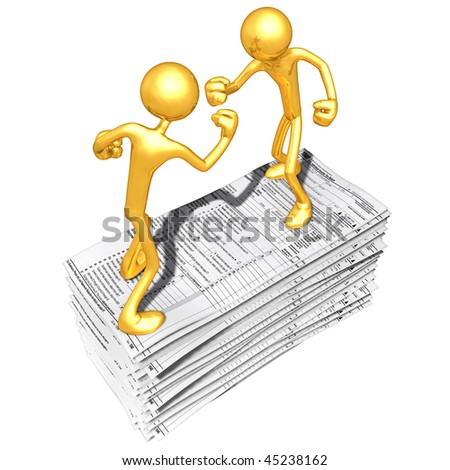 Gold Guys Fighting On Tax Forms - stock photo