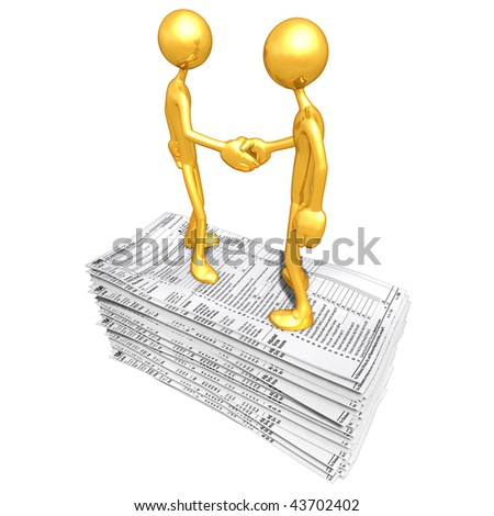 Gold Guys With Tax Forms - stock photo