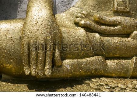 gold hand of image buddha - stock photo