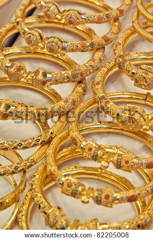 Gold handcraft in Souk of Dubai. - stock photo