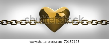 gold heart and gold chain isolated on white - love concept