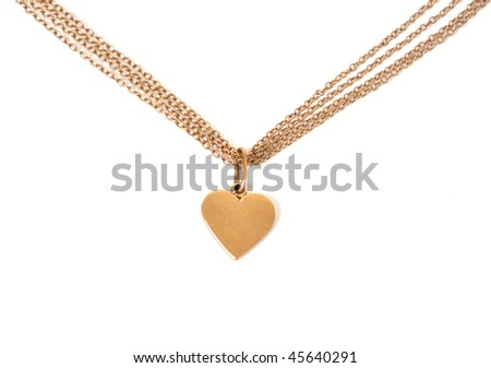 gold heart on chain, isolated on white