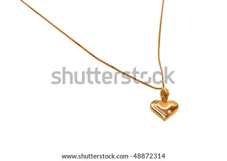 gold heart on white background - stock photo