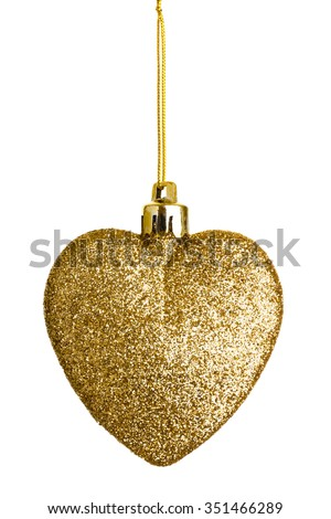 Gold heart tree ornament. A Christmas sparkling bauble on string isolated.
