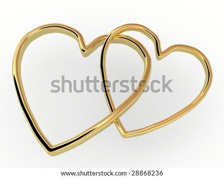 Gold hearts - stock photo