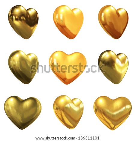 Gold hearts set for wedding design - stock photo