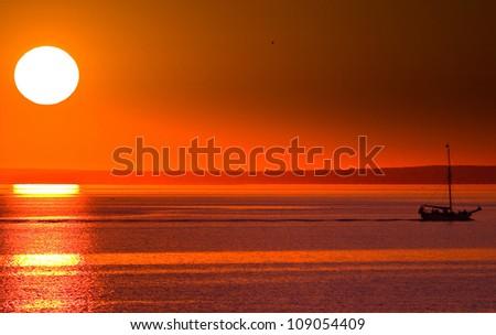 Gold Heavens Sunset - stock photo