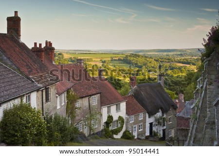 Gold Hill in Shaftesbury, Dorset. - stock photo