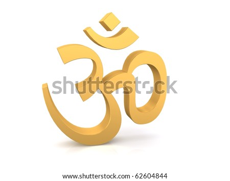 Gold Hinduism symbol isolated in white background - stock photo