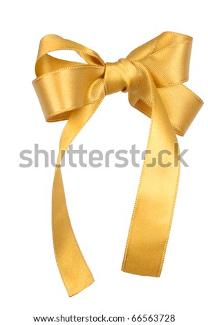 Gold holiday bow isolated on white