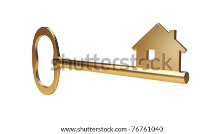 Gold home key - stock photo