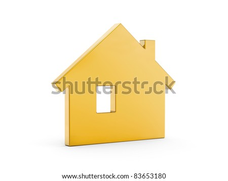 Gold home symbol - stock photo
