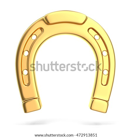 Gold horseshoe, 3D illustration
