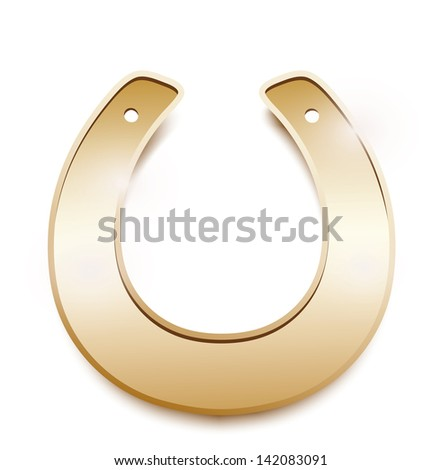 Gold horseshoe isolated on a white background - stock photo