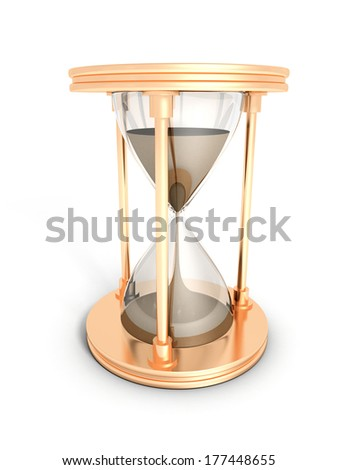 gold hourglass time concept on white background